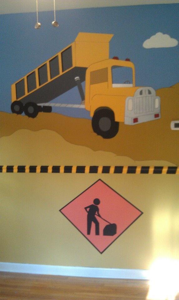 Nursery mural construction site by jordan fees via for Construction site wall mural