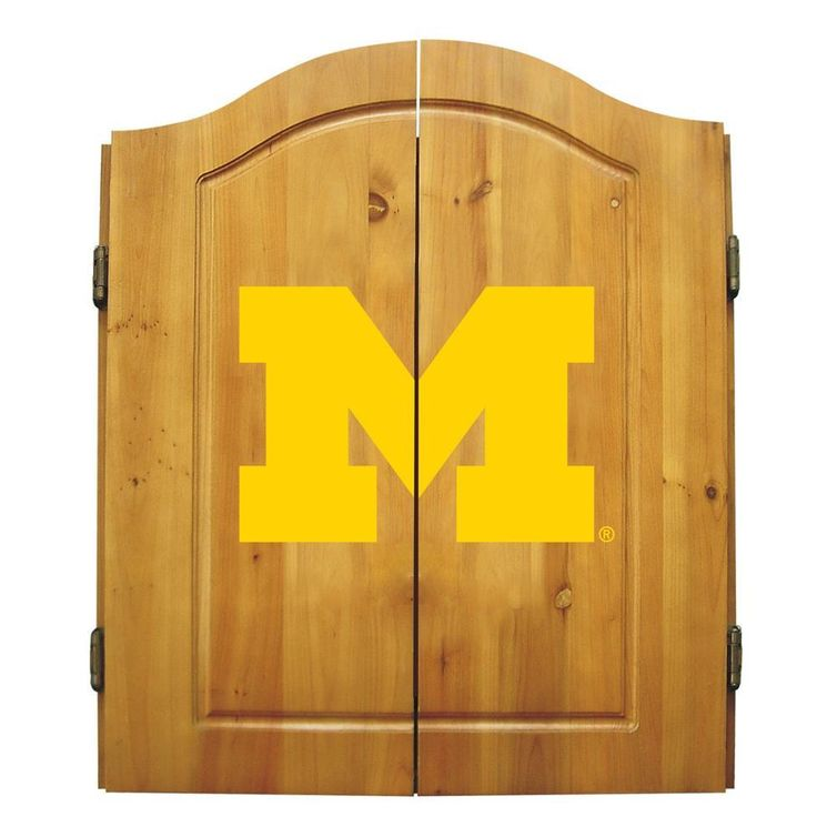 University of Michigan Wolverines Dart Board Cabinet & Bristle Dartboard Set