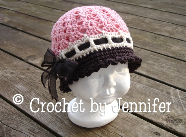 cloche in pink and brown