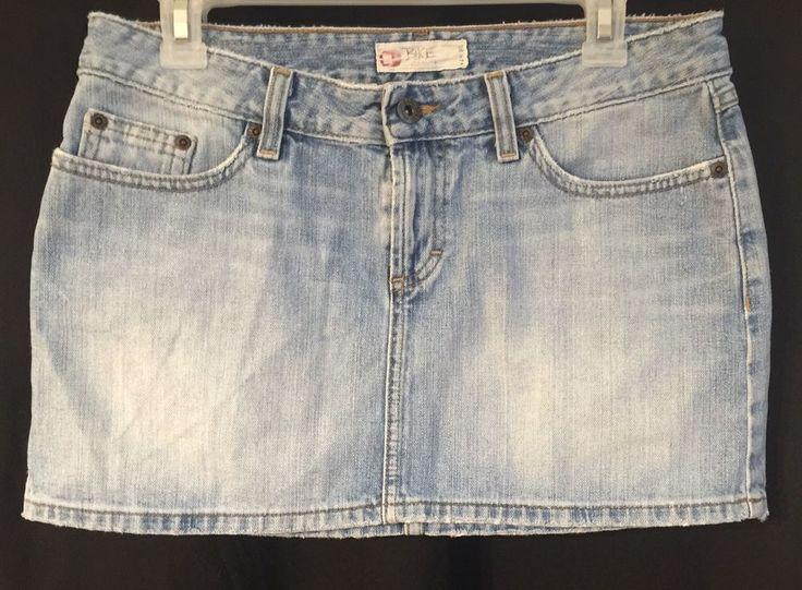 "BKE Sz 28 Blue Jean Skirt Mini Denim Distressed Destroyed Starlite Waist 30"" USA    eBay"