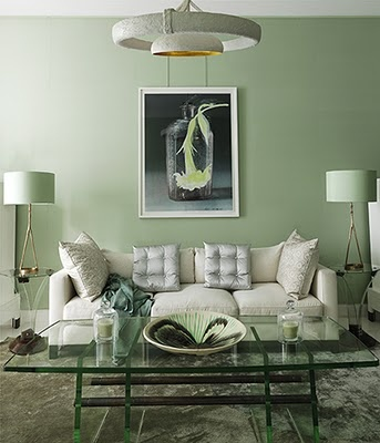 Pale green living room