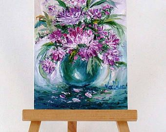 "Purple and pink Flowers. 3x4"" original miniature oil painting, gift item, indludes stand"