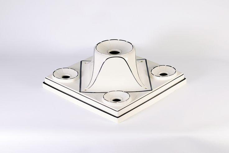 Rare plafonnier 1920 en porcelaine 5 lumières