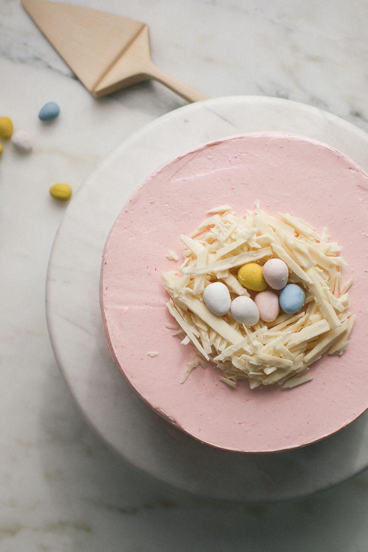 Strawberry Malted Milkshake Easter Cake