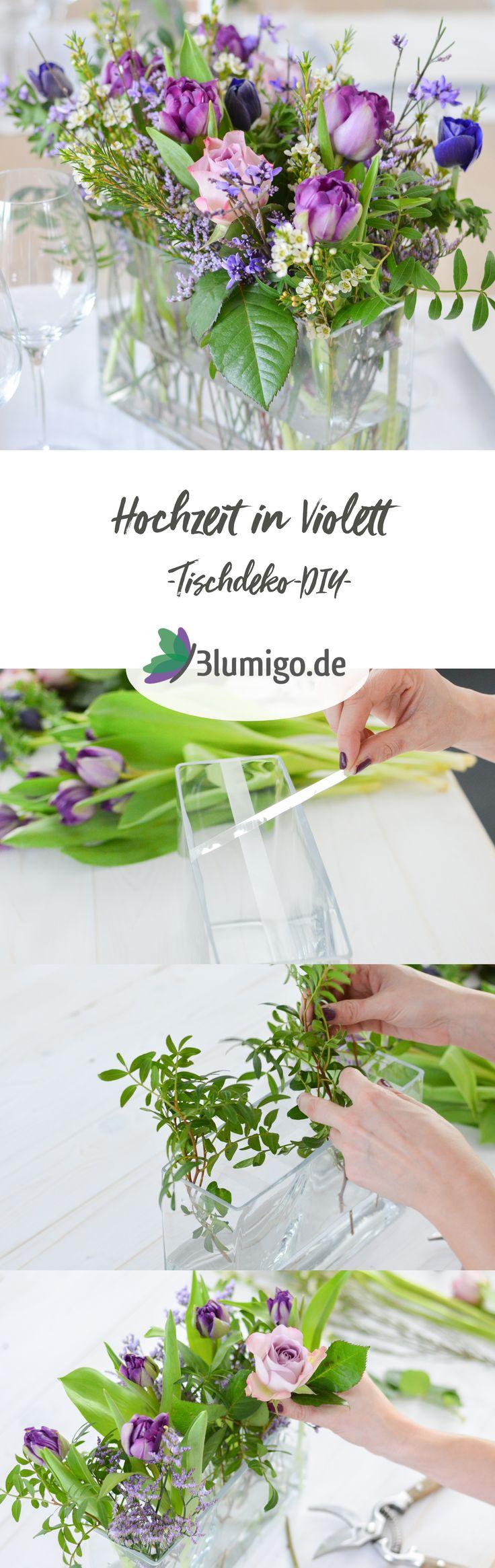 Tischdeko in Ultra-Violett selber machen - DIY-Anleitung. Ein einfacher Tischschmuck lässt sich mit wenigen Handgriffen günstig selber stecken. Gestalte deine Hochzeit selbst mit frischen, selbst arrangierten Blumen! #schnittblumen #blumendeko #floristik #blumenstrauß #brautstrauß #hochzeitsdekoration #hochzeit #hochzeitsdeko #boho #vintage #ultraviolett #lila #tischdekoration #tulpen