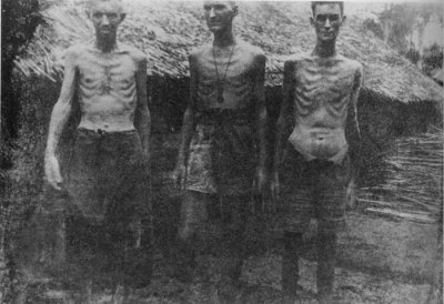 Historical images of U.S. men at Bataan death march