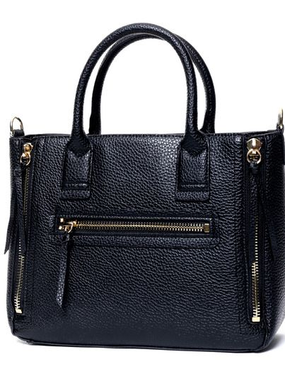 Black Zipper PU Tote Bag