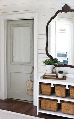 How to add plexiglass/glass to an old bathroom door. I love the color of the door next to the white walls....