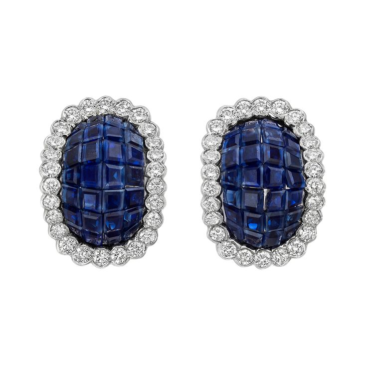 Estate Van Cleef & Arpels Invisible-Set Sapphire & Diamond Earclips