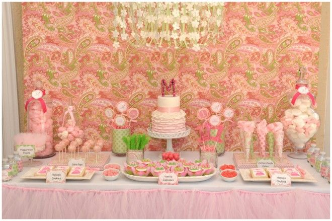 Pretty Desserts: Birthday Parties, Food Tables, Sweet Tables, 1St Birthday, Desserts Bar, Parties Ideas, Desserts Tables, Pink Parties, Baby Shower