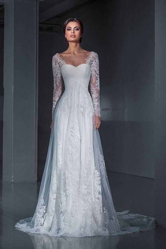 lace wedding dresswedding dress long sleeves by autumnsilkbridal