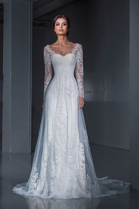 Lace wedding dress.Wedding dress. Long sleeves by AutumnSilkBridal