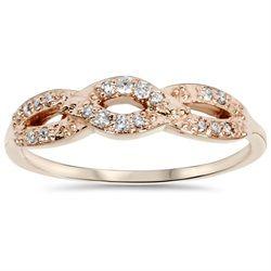 1/5CT Diamond Infinity Ring 14k Rose Gold $249.99 pompeii3.com