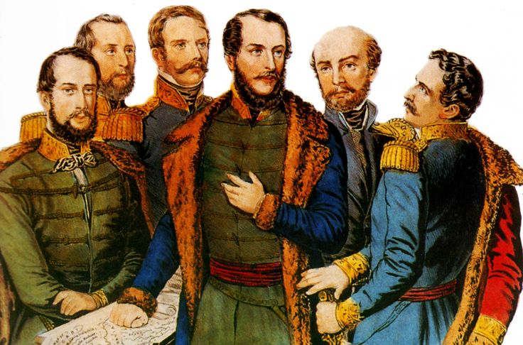 Kossuth Lajos tábornokai körében. Balról: Klapka György, Perczel Mór, Henryk Dembiński, Kossuth Lajos, Bem József és Aulich Lajos. Színezett litográfia