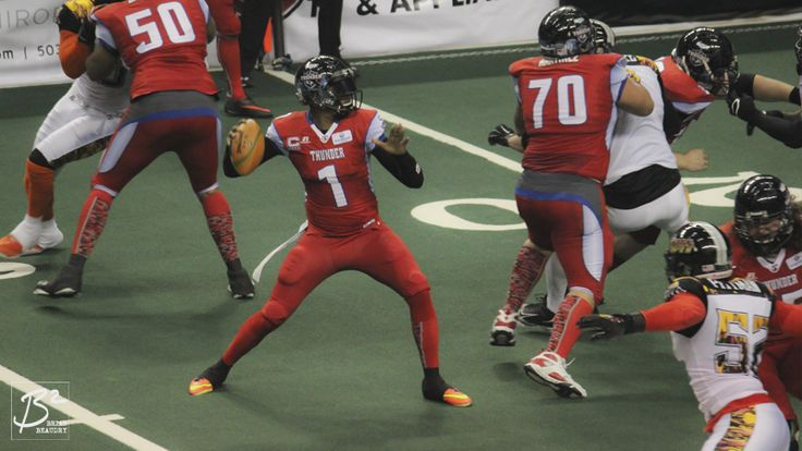 Darron Thomas winds up to throw a pass from his nice, clean pocket against the LA KISS.
