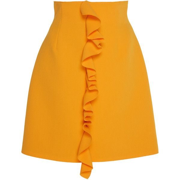 MSGM Double Crepe Cady Ruffle Mini Skirt ($325) ❤ liked on Polyvore featuring skirts, mini skirts, yellow, a-line skirt, yellow skirts, orange skirt, ruffle mini skirt and frilly skirt