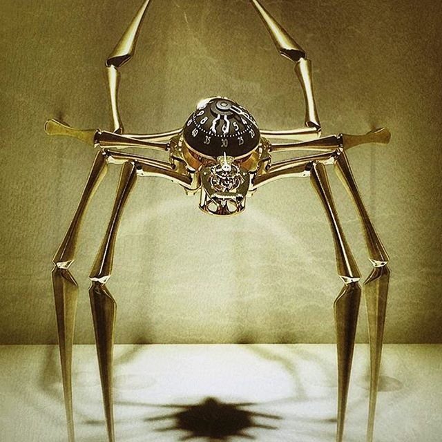 Mean-looking shot of the 'Arachnophobia' table (and wall) clock, co-created with our good friends at @lepee_1839 . Photo credits go to our retail partner in Abu Dhabi, @almanara_ij :) #mbandf #arachnophobia #lepee1839 #tableclock #clock