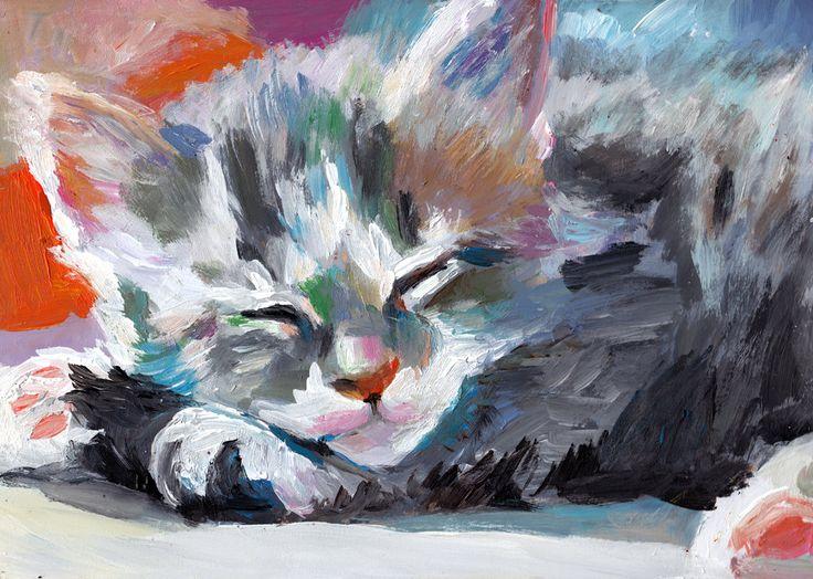 Small cat / Original painting / Acrylic painting / Cats paintings / Cat handmade painting / Fur / Big ears / Cute furry animal / grey. $75.00, via Etsy.