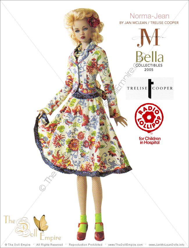 Norma-Jean by Jan McLean Doll Artist and Trelise Cooper Fashion Designer - Bella Collectibles - New Zealand Radio Lollipop Charity Auction