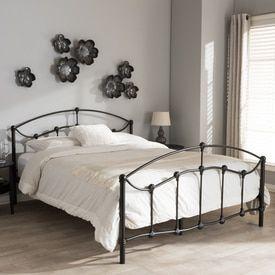 Baxton Studio Eileen Vintage Industrial Black Finished Metal Queen Size Platform Bed
