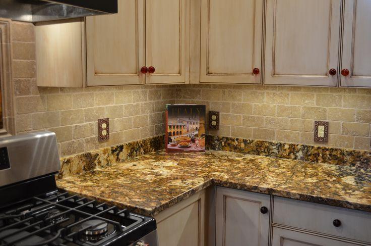 Splendor Gold Granite Countertops With Antique White