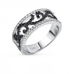 Кольцо, вставка:  фианит; фианит черный; Серебро 925 пробы. 30092