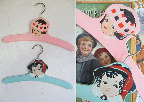 TWO adorable vintage wooden childrens coat-hangers c1920s-30s~Original gently timeworn & utterly charming paintwork