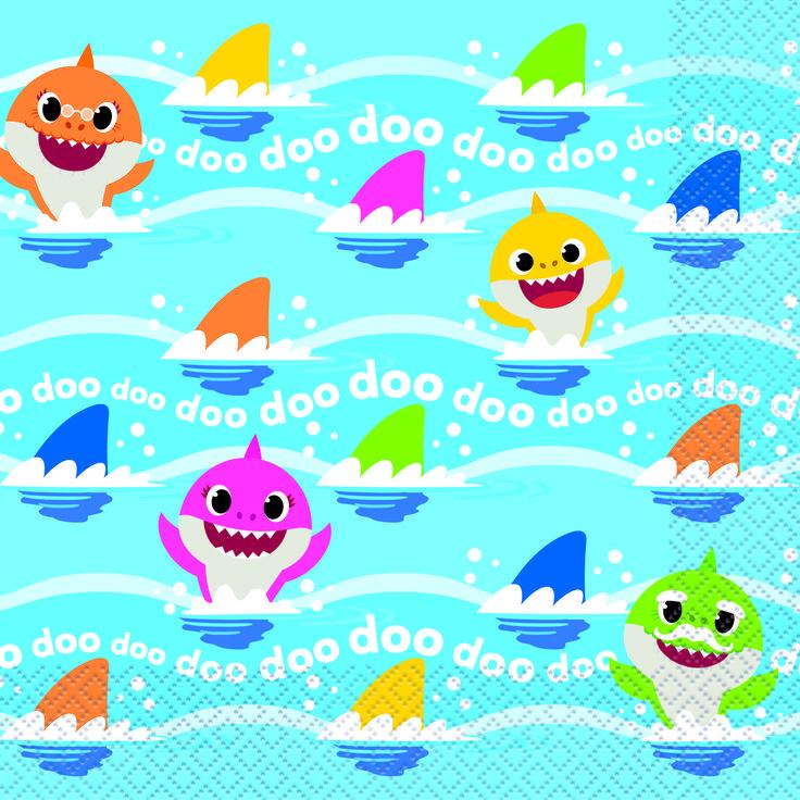 Baby Shark Paper Luncheon Napkins, 6.5in, 32ct Walmart