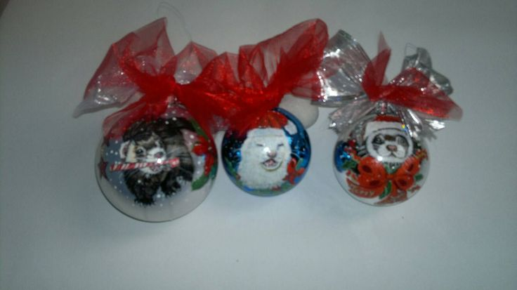 ferrets painting on Christmas balls