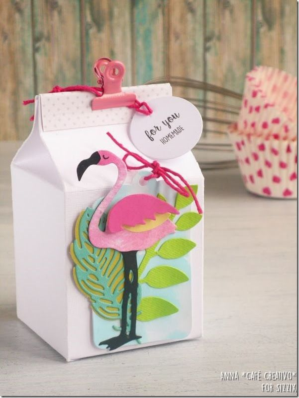 milk carton box with funky flamingo for food gift - tutorial, Sizzix