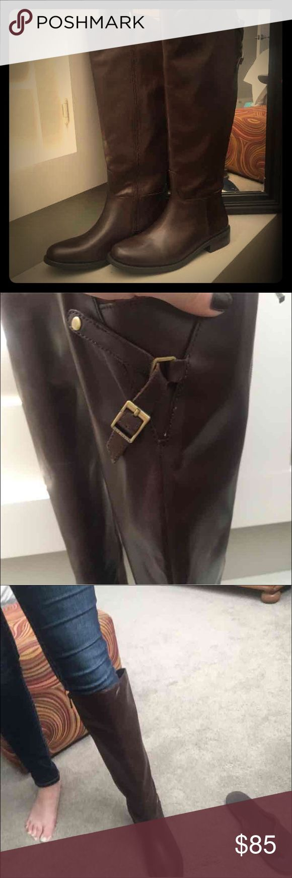 Brown Vince Camuto Riding Boots Brown Kadia Vince Camuto riding boots. These are brand new! Perfect condition, do NOT fit true to size. These are an 8 but will list as a 7.5 because that is the size they would fit! Reviews on Macy's and Nordstrom both also lean towards them fitting smaller! Vince Camuto Shoes