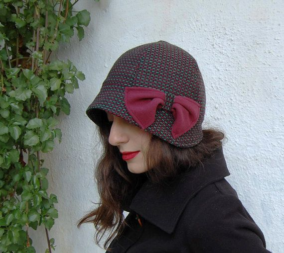 Cloche hat green and red tweed with small brim by WhereIsTheCat
