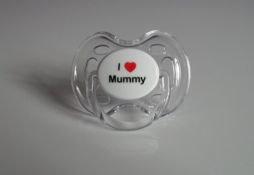 Clear, Pink or Blue Avent Dummy With 'i love mummy'
