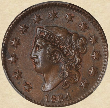 1834 Large Cent Obverse