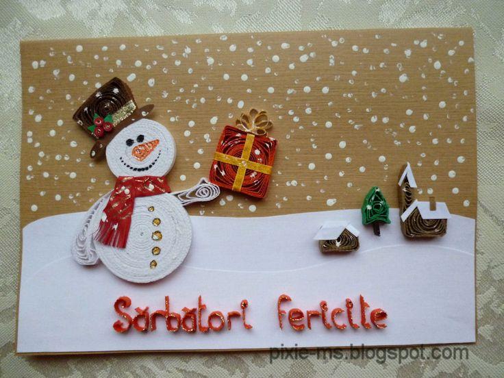 Snowman present quilling pinterest handmade for Handmade snowman christmas cards