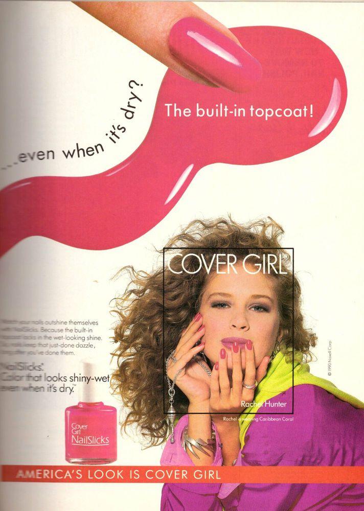 1990 Cover Girl Cosmetics Rachel Hunter Print Ad Vintage Advertisement VTG 90s
