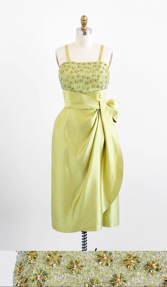 vintage 1950s chartreuse beaded silk origami Old Hollywood movie star cocktail dress.