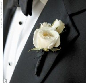 white rose boutonniere  We would like simple white rose boutonnieres. I like the black ribbon on the  bottom.