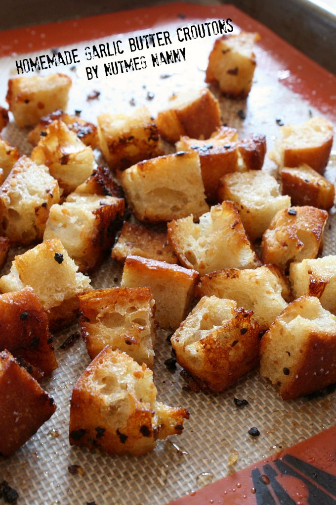 These homemade garlic butter croutons are full of flavor and perfect on top of soup or salad. Full of flavor and ready in just about 30 minutes.