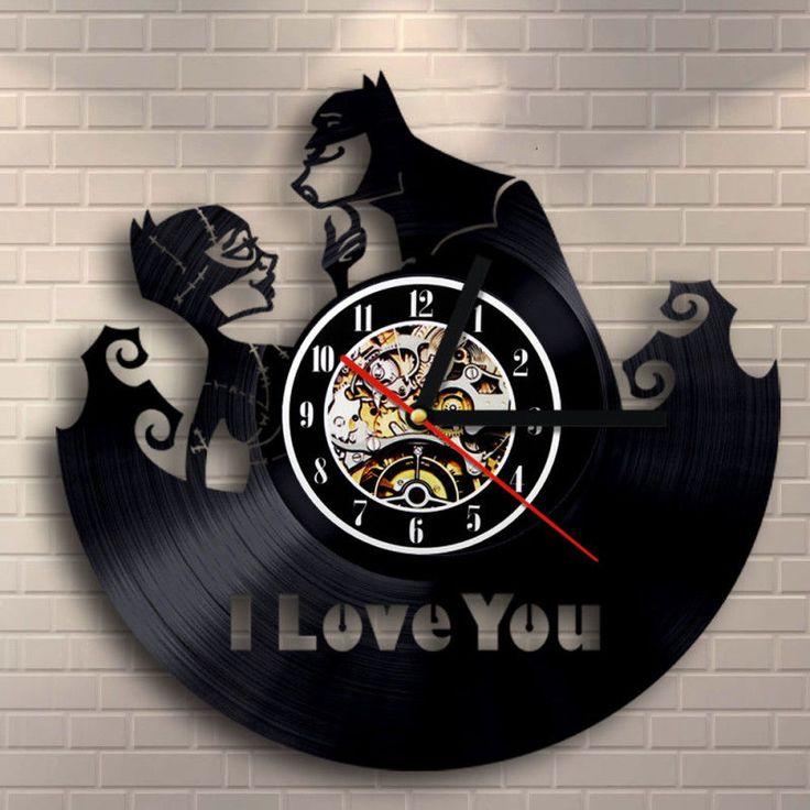 Batman Vs Catwoman Dc Comics Vinyl Clock Handmade Modern Wall Art 3D Home Gifts