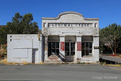 Vacant General Store along America's Loneliest Highway in Eureka, Nevada.