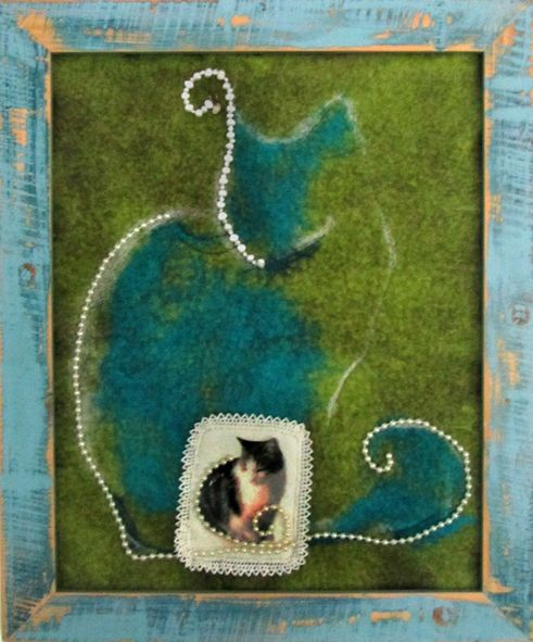 A Cat and Her Shadow 2015. Felt, embroidery, photo-printing