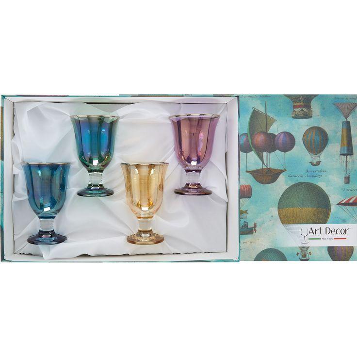 """Art Decor"" Set Of Four Multicoloured Glasses - TK Maxx"