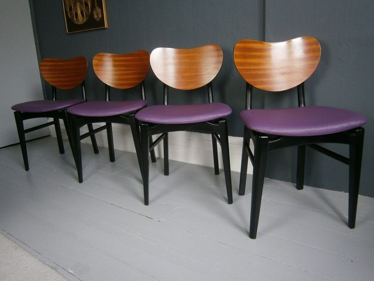 1950s Butterfly Back Dining Chairs. Really cute little chairs with some lovely design features with their floating seat. a dark purple vinyl with a splatter pattern and with a new black parke material underneath the seat pads. | eBay!