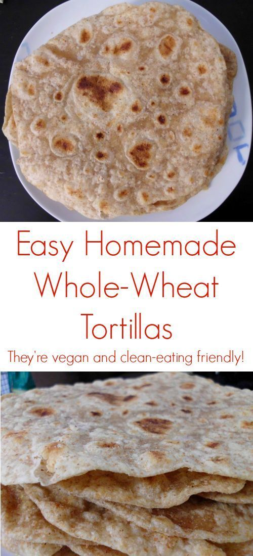 Easy Homemade Whole-Wheat Tortillas #Recipe - they're #vegan and #clean-eating friendly! So much easier to make than any other type of bread and I love knowing exactly what goes into the food I eat. | www.pinkrecipebox.com