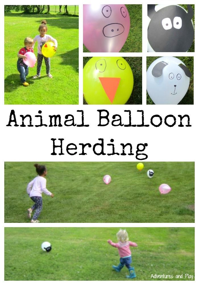 Animal Balloon Herding  Simple set up farm yard animal activity using balloons. Great for gross motor development and outdoor play.