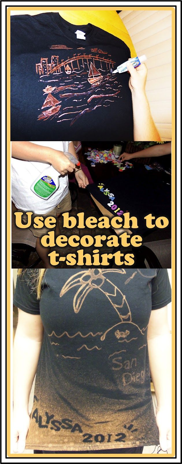 Decorating t-shirts with bleach. This was a fun family project. Everyone came up with their own unique design.