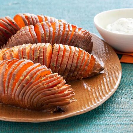 Hasselback Sweet Potatoes: could make these drizzled in honey