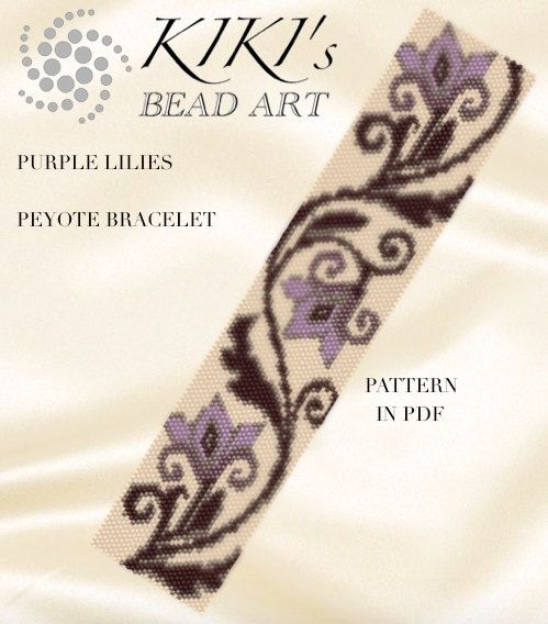 Peyote pattern for bracelet - Purple lilies peyote bracelet cuff pattern PDF instant download