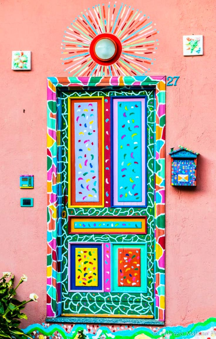Colourful door in Piedmont, Italy